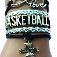 Love Basketball Bracelet - Silver/Black