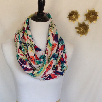 Feather Infinity scarf, Feather scarf, jersey knit scarf, infinity scarf bridesmaid gift