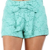 Sale-Mint Bow Front Lace Shorts
