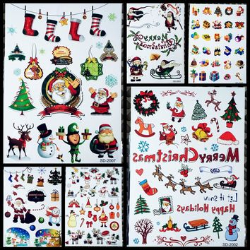 83b6978e8 10 Style New Year Merry Christmas Temporary Tattoo Stickers Kids
