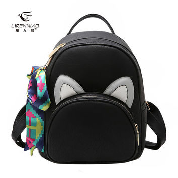 Quality Pu Leather Backpack Women Backpacks Cute Cat Ear School Backpacks For Teenage Girls Scarf Black Bags Pink Sac A Dos 1263