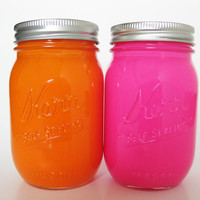 Pink and Orange Mason Jars, Painted Mason Jars, Colored Mason Jars, Pink Mason Jar, Orange Mason Jar, Mason Jar Set, Dorm Room Decor