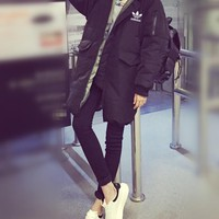 """""""Adidas"""" Women Simple Fashion Solid Color Zip Cardigan Hooded Long Sleeve Middle Long Section Cotton-padded Clothes Coat"""