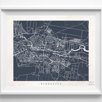 Bydgoszcz, Poland, Print, Map, Poster, State, City, Street Map, Art, Decor, Town, Illustration, Room, Wall Art, Customize, Dorm, Bedroom
