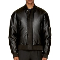 Juun.j Black Snake-embossed Puffed Bomber Jacket