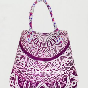 Pink  Purple Leaf Ombre Circle Boho Beach Bag for Women on RoyalFurnish.com
