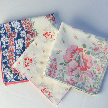 Vintage Handkerchief Hankie Lot of 3 Blue Pink Red Floral Cutter Crafts Sewing