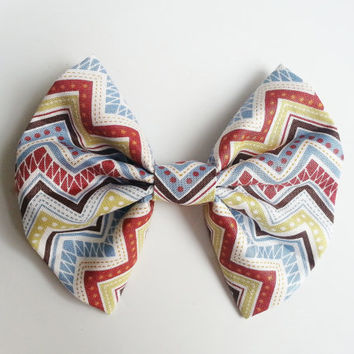Chevron Hairbow, Large Hairbow, Colorful Hairbow, Chignon Hairbow, Geometric Hairbow Hairbow great for a bun, Alligator clip or barrette