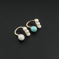 14K Gold Plated Fashion Pearl Turquoise U Shape Cocktail Ring