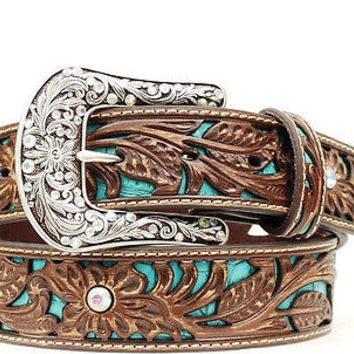 Ariat Women's Western Turquoise Inlay Tooled Leather Belt