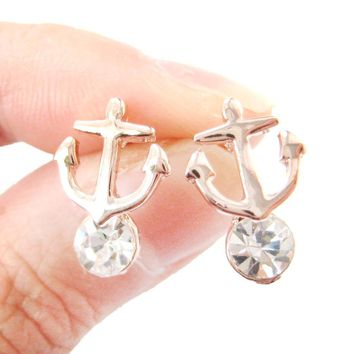 Anchor Shaped Nautical Themed Stud Earrings in Rose Gold with Rhinestones