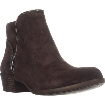 Lucky Brand Boide Zip Accent Ankle Boots, Java, 5 US / 35 EU