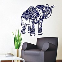 Wall Decals Elephant Indian Pattern Decal Vinyl Sticker Decor Home Interior Design Murals Bedroom Dorm Window MN 316
