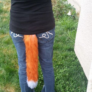 Foxy Cat Costume Tail, Orange cat tail, Clip on tail, yarn tail, Fluffy cat costume, Long fox tail, cat lover gift, fox lover gift
