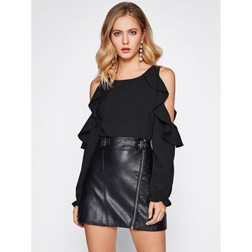 Open Shoulder Frill Trim Blouse Black