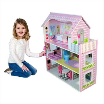 Barbie Doll House Wooden Pink Dollhouse