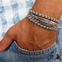 Men's Bracelet - Men's Feather Bracelet - Men's Gray Bracelet - Men's Jewelry - Bracelets For Men - Jewelry For Men - Gift for Him