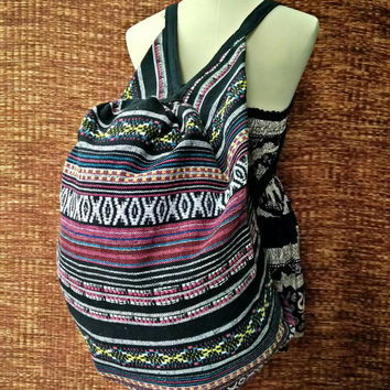 Backpack and Crossbody Bags Overnight travel bag Boho Tribal Hobo Stripes Aztec Ethnic Hippie Ethnic Styles Hipster Native Beach 2in1 red