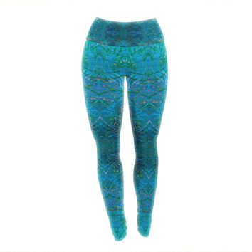 "Nikposium ""Clearwater"" Blue Teal Yoga Leggings"