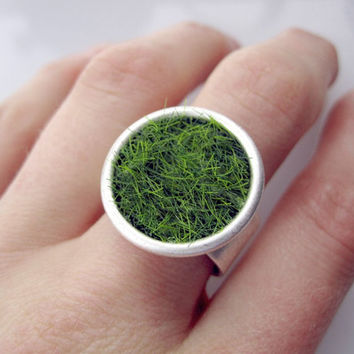 Lush Green Grass Round Silver Ring Wide by SeahagAndWalrus on Etsy