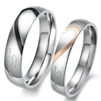 "Lover's Heart Shape Titanium Stainless Steel Mens Ladies Promise Ring ""Real Love"" Couple Wedding Bands:Amazon:Jewelry"