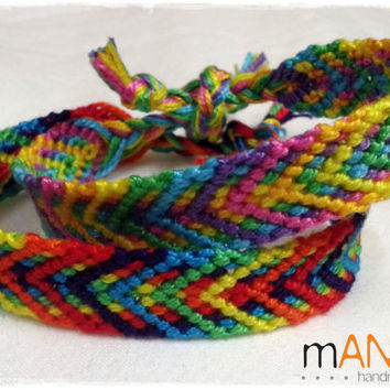 Set of two Rainbow Knotted Friendship Bracelet - Woven Wristband - Support our Cause