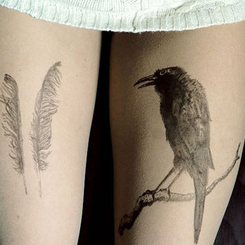 feathers, raven, tattoo tights, large tattoo,raven tattoo, feathers tattoo