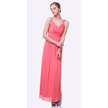 d27dec25c94 Long Beach Wedding Bridesmaid Dress Coral Flowy Chiffon