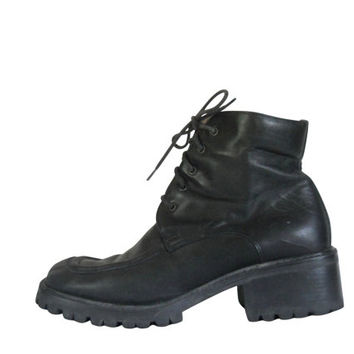 90s Black Boot Black Ankle Boot Lace Up Ankle Boot Kenneth Cole Women Military Boot 90s Ankle Boot 90s Grunge Boot Combat Boot Chunky Heel