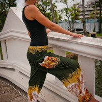 Thai Harem Pants in Cotton, Green and White w Mustard Elephant Print Design