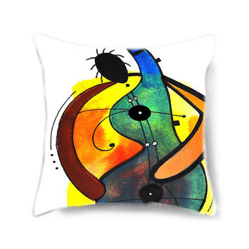 Home decor pillow cover, throw pillow, art pillow, decorative pillow for bed, green pillow, pillow cover, musical instrument, musical gift