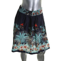 Tommy Hilfiger Womens Cotton Tropical Graphic A-Line Skirt