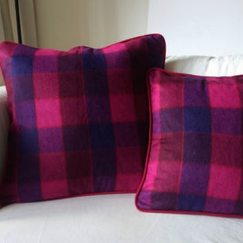 Plaid throw pillow, wool and cashmere cushion cover, cozy, comfortable, soft pillow case for a warm atmosphere, french handmade