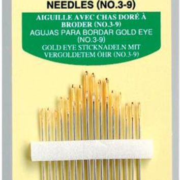 Size 3/9 16/Pkg Clover Gold Eye Embroidery Needles