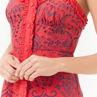 Embroidered Eyelet Mini Dress