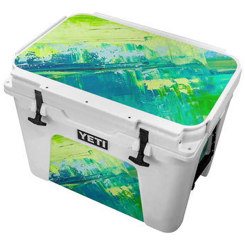 Roughly Painted Canvas In Lime Green and Blue Skin for the Yeti Tundra Cooler