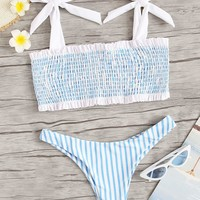 Smocked Tie Shoulder Top With Cheeky Bikini Set