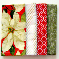 Christmas Cloth Napkins - Set of 4 - Dinner, Table, Wedding, Everyday - Mismatched, Assorted, Variety - Red White Gold Green