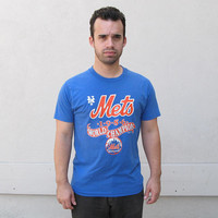 vintage Mets tshirt - vintage 80s 1986 world champions red white blue new york MLB baseball retro polyester cotton screen stars unisex 38""