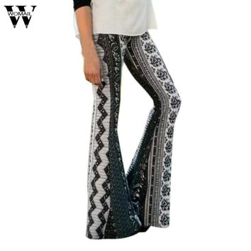 Womens Ankle-Length Printed Stretch Flare Pants