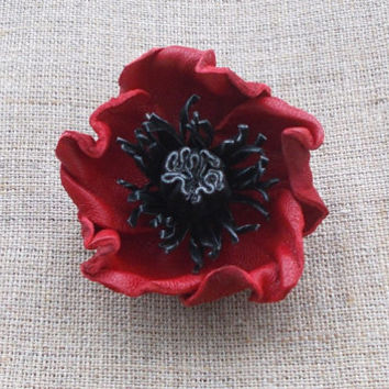 Brooch Poppy, Red Poppy - leather flower brooch (natural leather and suede), gifts for mom, for kids, miniature leather brooch