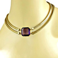 Art Deco Necklace with Large Square Glass Amethyst with Double Mesh Gold Tone Chain 1940's