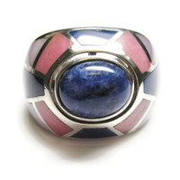 Chunky Lapis Mother of Pearl Sterling Ring Size 6