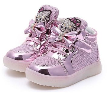 Promotion Hello kitty Girls Led Shoes Spring Autumn Girls Princess Cute Shoes With Light Children Lighted Sneakers 21-36