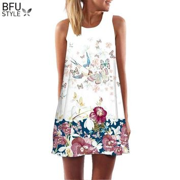 2018 Summer Mini Dress Women Cow Letter Print Sundress Clothing Sleeveless Boho Short Beach Dress Casual Shift Dresses Vestido