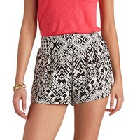 PLEATED PRINTED HIGH-WAISTED SHORTS