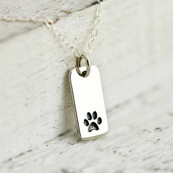 Paw Print Necklace - Sterling Silver Paw Print Tag Necklace - Pet Memorial Necklace - Dog Lover Gift -Cat Lover Gift  -Animal Lovers Jewelry