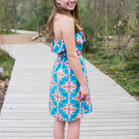 Medallion Print Strapless Dress, Blue and Pink