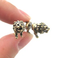 Fake Gauge Earrings: Realistic Lion Animal Shaped Plug Earrings in Brass