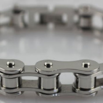 Silver Stainless Steel Motorcycle Racing Chain Bracelet